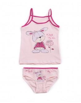 Комплект для девочки маечка с трусиками Зайчик Donella 4371 розовый 2014-4