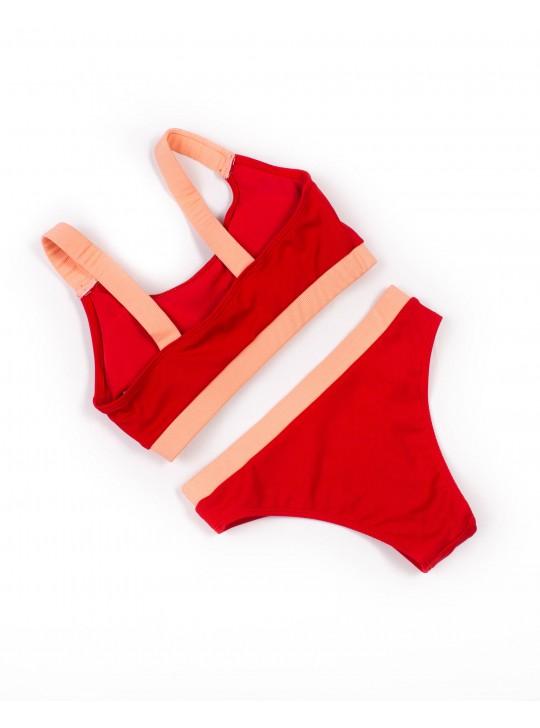 Купальник трикотажный без косточек Samegame 9697 красный 1041-1