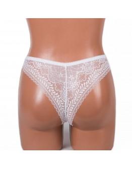 Женские бесшовные трусики-бразилиана с кружевом Rosa Junio 56175 белые 4106-2
