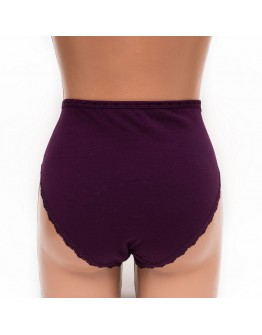 Женские трусы хлопок с кружевом SMX underwear сливовые k3398-3